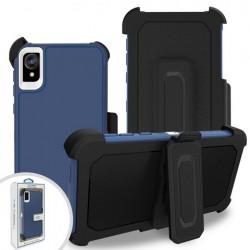 Premium Hybrid Triple Combo Holster, Blue For Motorola E6
