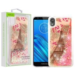 Eiffel Tower & Pink Hearts Quicksand Glitter Hybrid Protector Cover (with Package) For Motorola E6