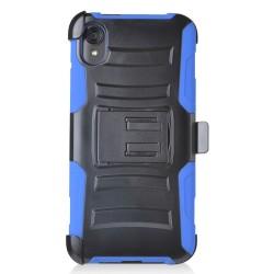 PR Hybrid Armor Case with Holster Blue For Motorola E6