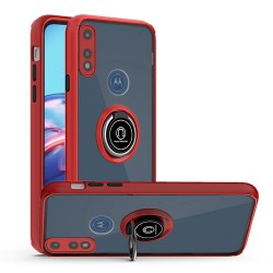 Premium Painted Leather Oil PC TPU w/ Magnetic Metal Ring for moto e 2020 - Red