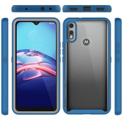 Shockproof Heavy Duty Bumper Case for moto e 2020 - Clear/Blue