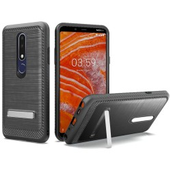 Brushed Metallic EDGE with Magnetic Kickstand for Nokia 3.1 PLUS_BLACK