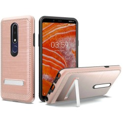 Brushed Metallic EDGE with Magnetic Kickstand for Nokia 3.1 PLUS_ROSE GOLD