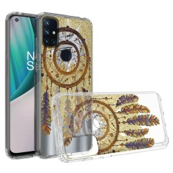 Design Transparent Bumper Hybrid Case for OnePlus Nord N10 5G - Antique Feather