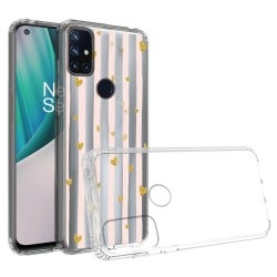 Design Transparent Bumper Hybrid Case for OnePlus Nord N10 5G - Gold Love Stripes