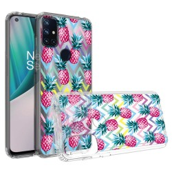 Design Transparent Bumper Hybrid Case for OnePlus Nord N10 5G - Pineapple ZigZag