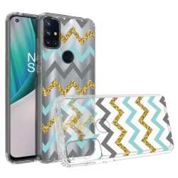 Design Transparent Bumper Hybrid Case for OnePlus Nord N10 5G - Teal Gold ZigZag