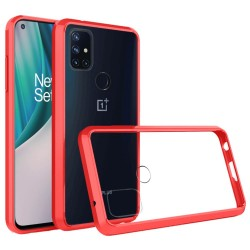 Transparent Hybrid Case for OnePlus Nord N10 5G - Red