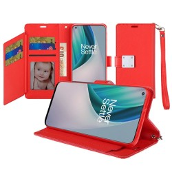 Wallet ID Card Holder for OnePlus Nord N10 5G - Red