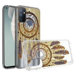 Design Transparent Bumper Hybrid Case for OnePlus Nord N100 - Antique Feather