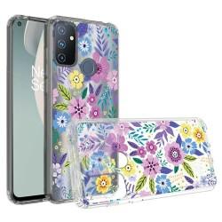 Design Transparent Bumper Hybrid Case for OnePlus Nord N100 - Colorful Flower Arrangement