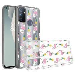 Design Transparent Bumper Hybrid Case for OnePlus Nord N100 - Flamingo Pineapple Leaf