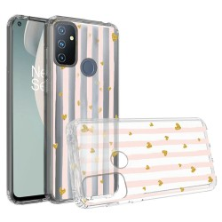 Design Transparent Bumper Hybrid Case for OnePlus Nord N100 - Gold Love Stripes
