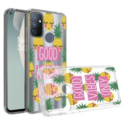 Design Transparent Bumper Hybrid Case for OnePlus Nord N100 - Good Vibes Only