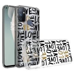 Design Transparent Bumper Hybrid Case for OnePlus Nord N100 - Love In Gold