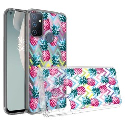 Design Transparent Bumper Hybrid Case for OnePlus Nord N100 - Pineapple ZigZag