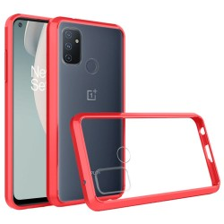 Transparent Hybrid Case for OnePlus Nord N100 - Red