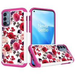 Beautiful Design Leather Feel Tuff Hybrid Case for OnePlue Nord N200 - Antique Flowers