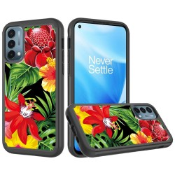 Beautiful Design Leather Feel Tuff Hybrid Case for OnePlue Nord N200 - Flower Blossom