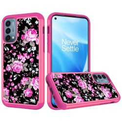 Beautiful Design Leather Feel Tuff Hybrid Case for OnePlue Nord N200 - Roses