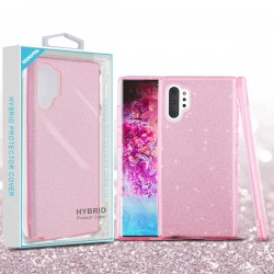 Pink Full Glitter Hybrid Protector Cover (with Package) For Note 10