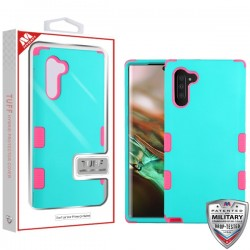 Rubberized Teal Green/Electric Pink TUFF Hybrid Protector Cover [Military-Grade Certified](with Package) For Samsung Note 10