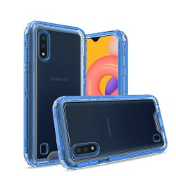 3in1 High Quality Transparent Snap On Hybrid for Galaxy A01 Clear/Blue