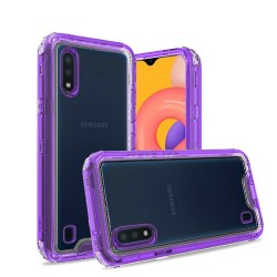 3in1 High Quality Transparent Snap On Hybrid for Galaxy A01 Clear/Dark Purple