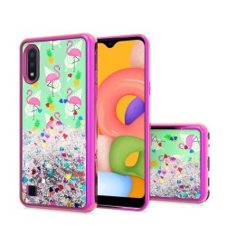 Design Water Quicksand Glitter Chrome TPU for Galaxy A01 - Flamingo Pineapple Feather