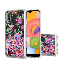 Design Water Quicksand Glitter Chrome TPU for Galaxy A01 - Pink Purple Flower