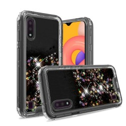 3in1 High Quality Transparent Liquid Glitter Snap On Hybrid for Galaxy A01 - Black