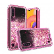 3in1 High Quality Transparent Liquid Glitter Snap On Hybrid for Galaxy A01 - Hot Pink