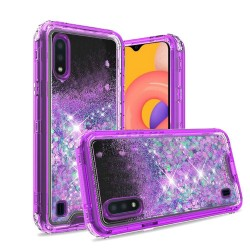 3in1 High Quality Transparent Liquid Glitter Snap On Hybrid for Galaxy A01 - Purple