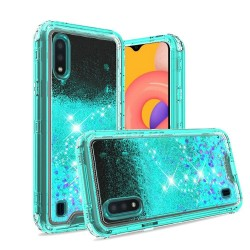 3in1 High Quality Transparent Liquid Glitter Snap On Hybrid for Galaxy A01 - Teal