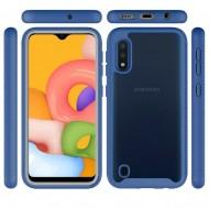 Shockproof Heavy Duty Bumper Case for Galaxy A01 Clear/Blue