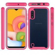 Shockproof Heavy Duty Bumper Case for Galaxy A01 Clear/Hot Pink