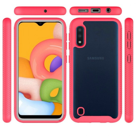 Shockproof Heavy Duty Bumper Case for Galaxy A01 Clear/Red