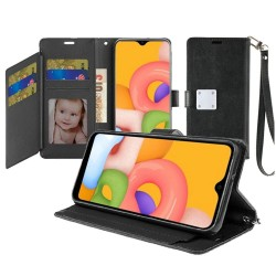 Wristlet Magnetic Metal Snap Wallet with Two Row Credit Card Holder for Galaxy A01 - Black
