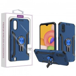 Asmyna Hybrid Protector with Ring Stand for Galaxy A01 - Blue/Black