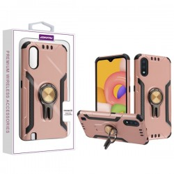 Asmyna Hybrid Protector with Ring Stand for Galaxy A01 - Rose Gold/Black
