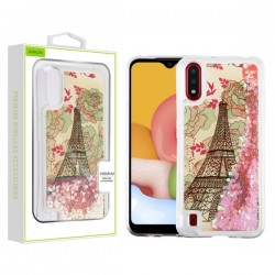 AIRIUM Quicksand Glitter Hybrid Protector for Galaxy A01 - Eiffel Tower & Pink Hearts