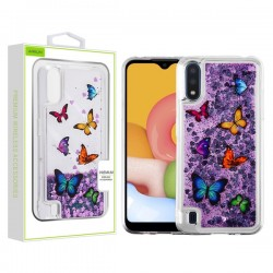 AIRIUM Quicksand Glitter Hybrid Protector for Galaxy A01 - Butterfly Dancing & Purple