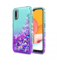 Color Change Diamond Glitter Quick Sand Case for SAMSUNG A01 TEAL/PURPLE