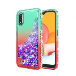 Color Change Diamond Glitter Quick Sand Case for SAMSUNG A01 GREEN/RED