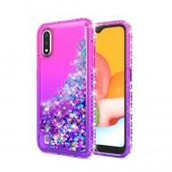 Color Change Diamond Glitter Quick Sand Case for SAMSUNG A01 PINK/PURPLE