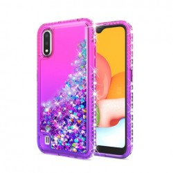 Color Change Diamond Glitter Quick Sand Case for SAMSUNG A01 PINK/PURPLE