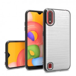 Brush Metalic W/ Chrome Edge Case for Samsung A01 Black