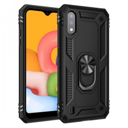 HEAVY DUTY RING STAND CASE FOR SAMSUNG A01 BLACK