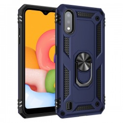 HEAVY DUTY RING STAND CASE FOR SAMSUNG A01 BLUE