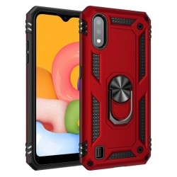 HEAVY DUTY RING STAND CASE FOR SAMSUNG A01 RED